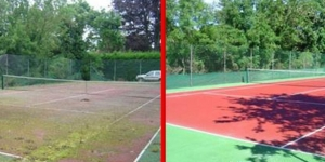 Tennis Court Before And After Landscaping
